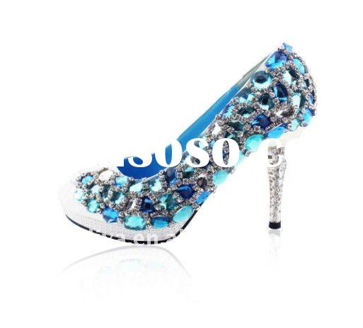 2011 high quality blue crystals rhinestones wedding shoes party shoes XZ054