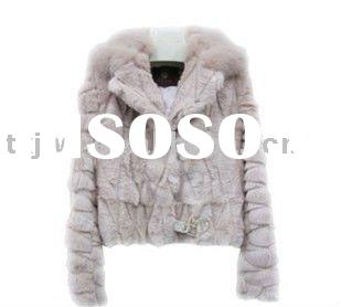 2011 new fashion trendy pink rabbit fur coat with belt