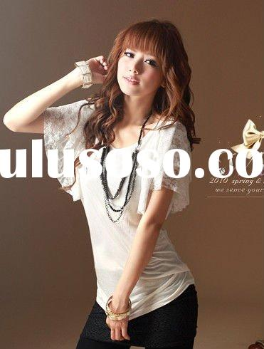 2011 new ladies fashion tops blouses with lace sleeves FY2672