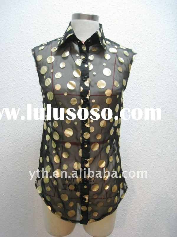 2012 Summer Ladies' Sleeveless Print Chiffon Blouse & Tops