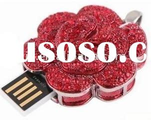 2GB Full Rhinestones Red Rose USB Flash Memory Drive Bracelet Keychain Pendant necklace jewelry