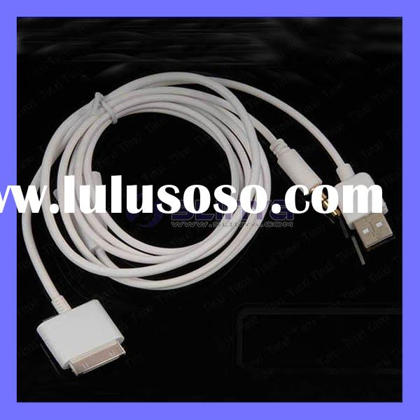 3 in 1 Cable Car AUX Charger USB Data For iPhone iPad iPod