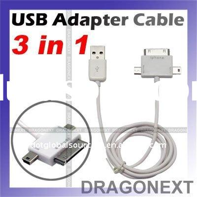 3in1 Universal USB Data Cable Adaptor for Apple Android SmartPhone Cell Phone