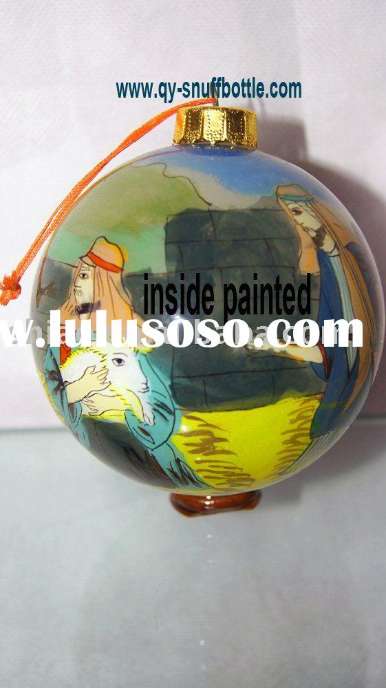 8 cm glass Christmas ball with cartoon picture inside painted better price
