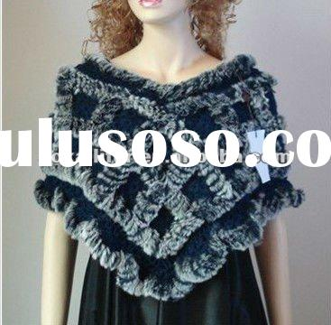 AKLSR1102BU knitted rex rabbit fur shawl. Exquisite handmade with rose flowers. Fur shawl on hot sel