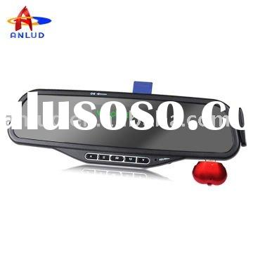 ALD08 bluetooth handsfree car kit rearview mirror fcc id with MP3
