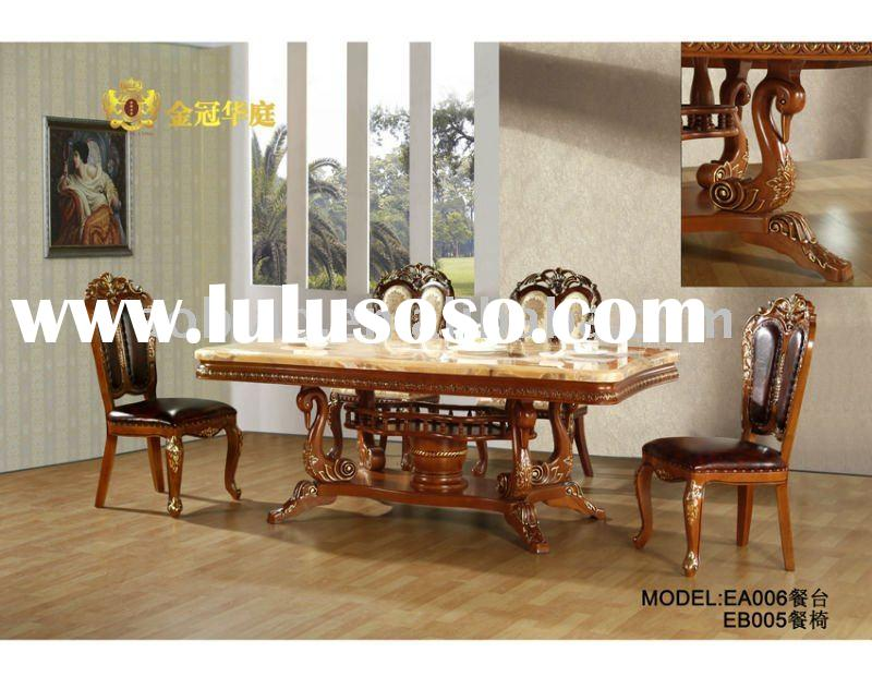 Antique Marble Top Solid Wood Dining Furniture Set EA006/EB005
