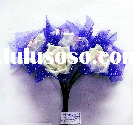 Artificial Rose Wedding Flowers Balls with purple Ribbon For Wedding Decoration