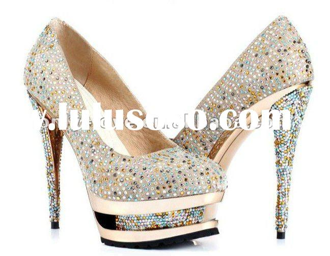 BS106 handmade super high heel golden crystals party shoes evening shoes bridal shoes