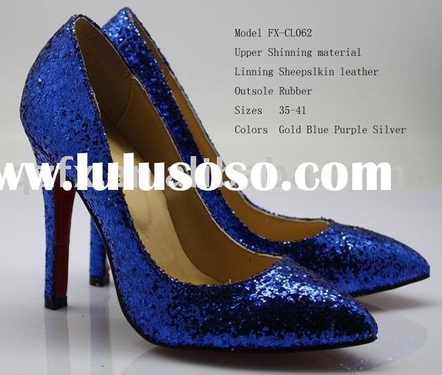 Blue Bridal shoes, ladies glitter high heel shoes, party shoes