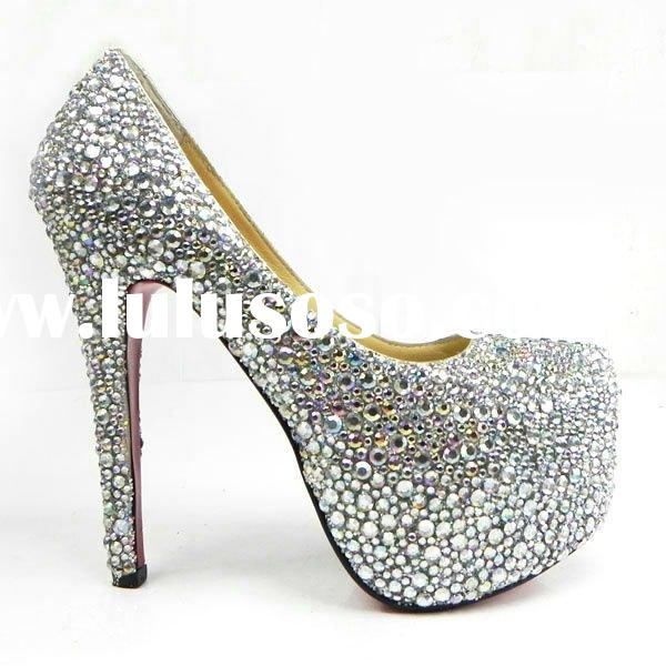 CLF045 famous brand women high heel silver crystal party shoes