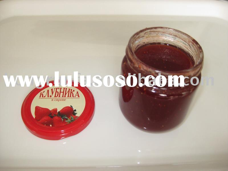 Canned Strawberry Jam In Glass Jars