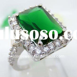 Factory artisan crafted wholesale fashion silver hand setting Emerald CZ rhodium plating Heart 925 s