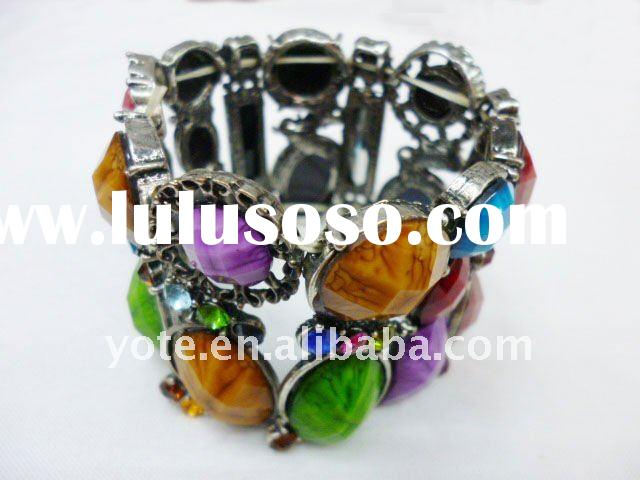 Fashion Colorful Acrylic Stone Vintage Black Bracelets