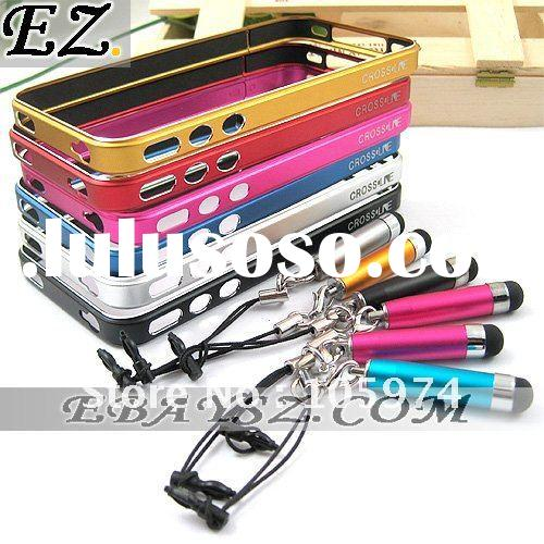 Fashion Cross Line MC-1 Metal Case Aluminum Element Metal Bumper With Touch Pen for iPhone 4 IP-636