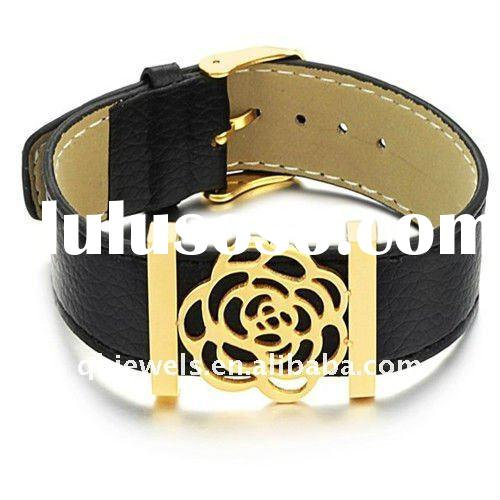 Fashion black plating leather watch wrap bracelets