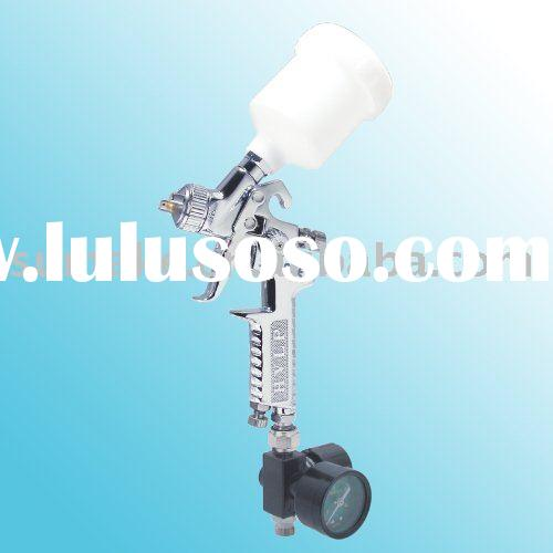 HVLP AIR SPRAY GUN WITH REGULATOR & 125CC PLASTIC CUP STANDARD NOZZLE: 0.8MM