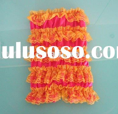 Hot Pink/yellow Ruffle Lace Petti Rompers for Infant