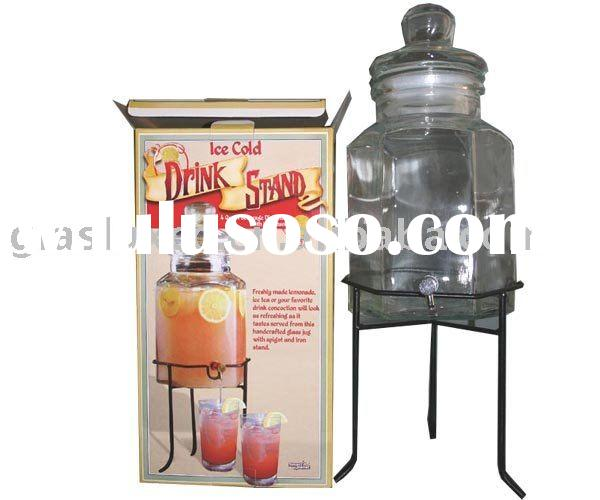 Jumbo Beverage Drink Dispenser w. Spigot, Glass Lid & Iron Stand