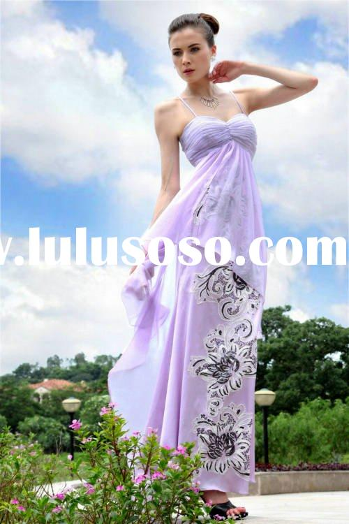 Ladies bridesmaid dress popular dress spaghetti strap sequins flower backless A-line chiffon, charme