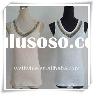 Ladies tops latest design with beaded on front neck