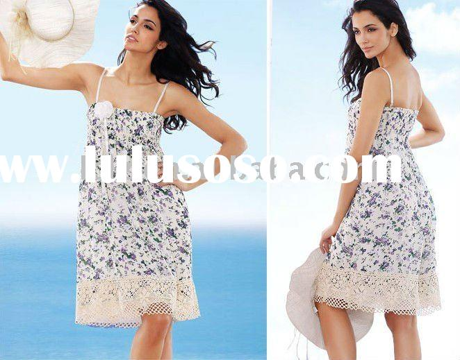 Lovely floral printed spaghetti straps lady blouse & tops 3023
