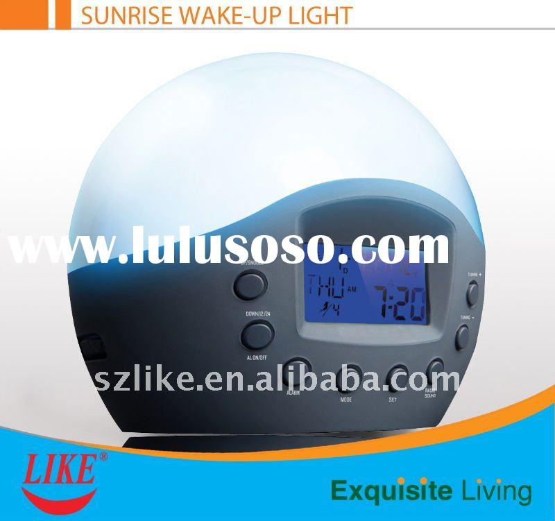 Multifunction sunrise wake up lamp alarm clock radio
