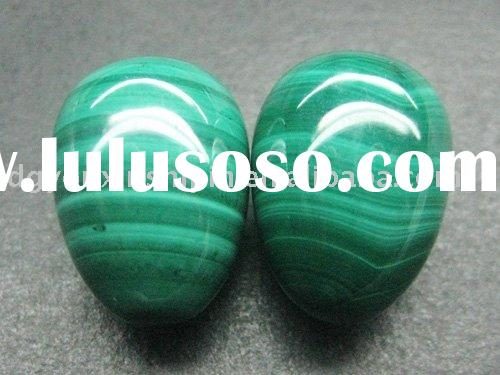 Newest fashion natural gemstone loose beads Malachite egg shape stone jewelry
