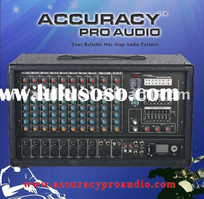 Portable Power Mixer. Professional 10-Channel DJ Cabinet Powered Mixer Spe