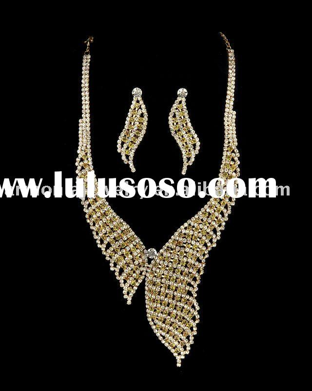 Rhinestone, Brass Costume Jewelry Set, Necklace & Earrings/Wedding Bridal Jewelry