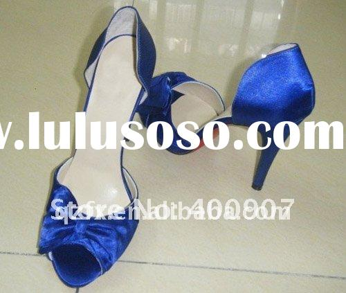 Royal blue satin high heel wedding party shoes with bowtie