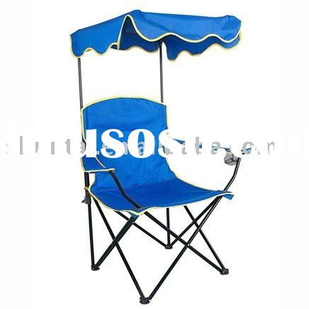 STEEL FOLDING CAMPING CHAIR WITH SUNSHADE