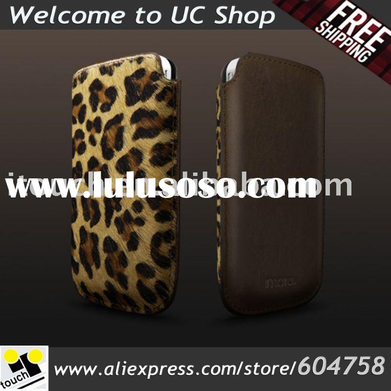 Safara Classic leather case for iphone 4 Leopard/Brown Color