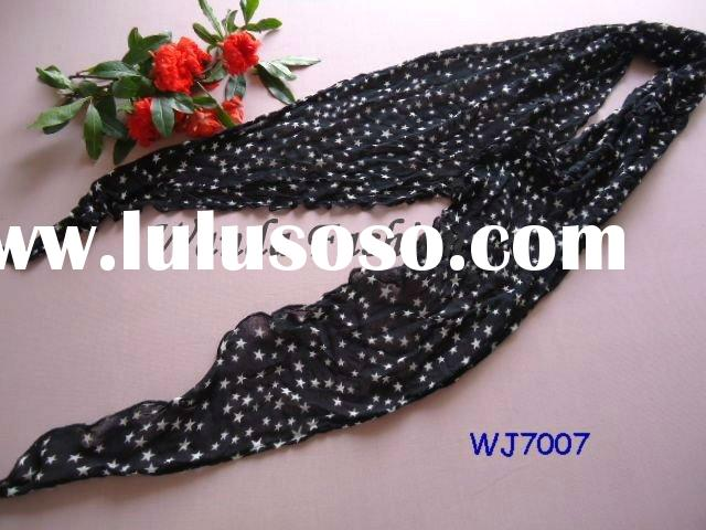 Sell fashion long black with white stars cotton rayon scarf (WJ7007)