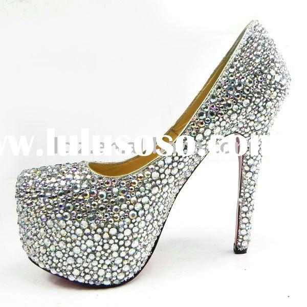 Stunning & luxury colorful crystal diamond silver 100% genuine leather shoes CLF045 free shippin