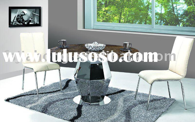 Stylish Round Marble Dining Table/Stainless steel Table Base