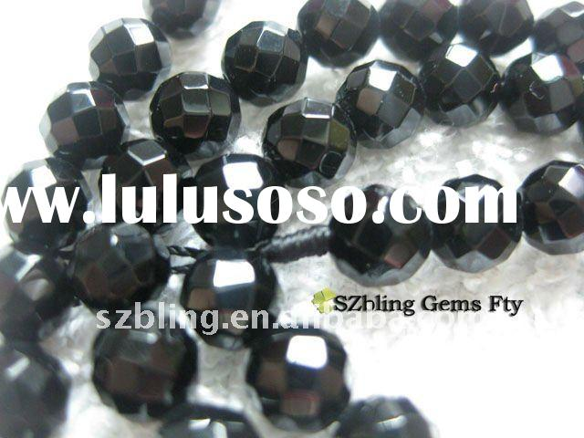 """Top quality 16""""loose strand gemstone black obsidian jewelry faceted beads for sale"""