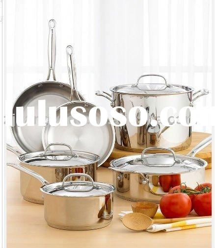 Tri-ply stainless steel cooking pot and pan cookware set