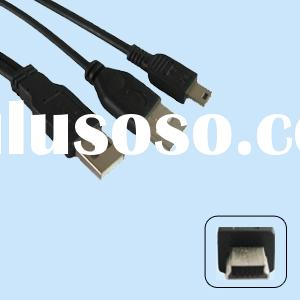 USB 2.0 Y Cable A Male to A Male and 5 Pin Mini