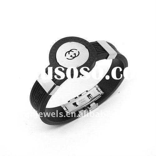 Watch style stainless steel silicon bracelet