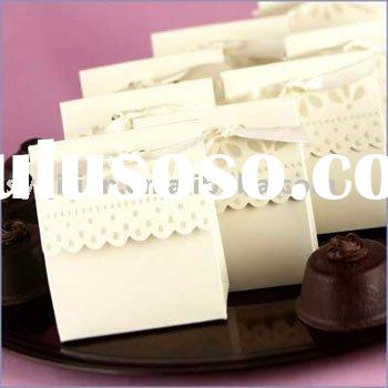 Wedding favor box candy box-Scalloped-Edge Ivory Wedding Favor Boxes