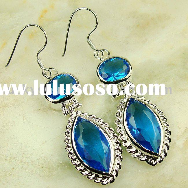 Wholesale Costume Jewelry Fashion Gemstone Earring 925 Silver Gemstone Earring Swiss Blue Topaz