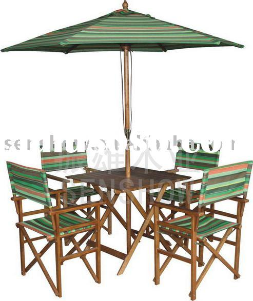 Wooden director chair & folding table & Sun umbrella