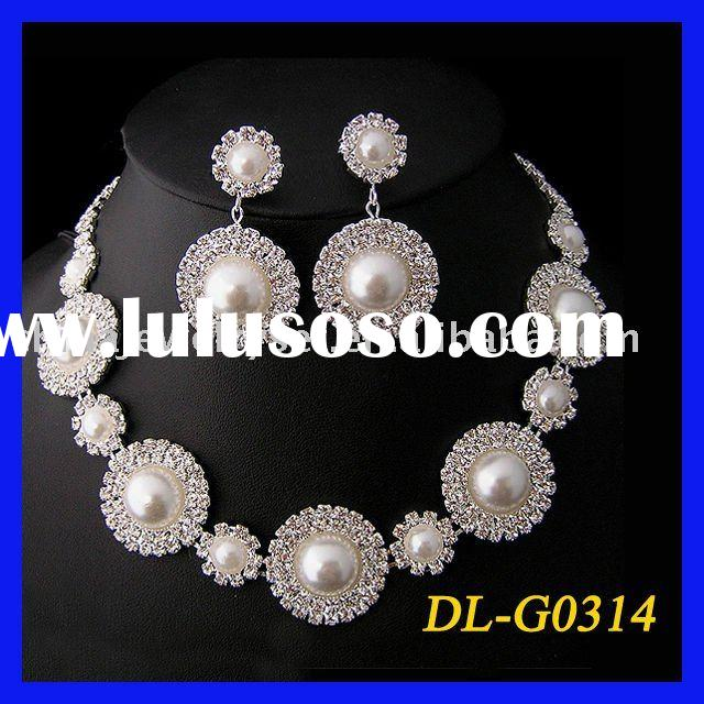 beautiful wedding jewelry ,bridal pearl necklace set/diamond pearl jewelry set
