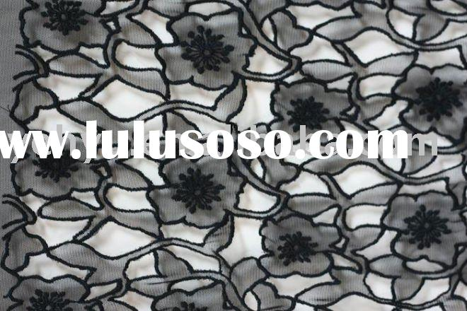 black mesh embroidery fabrics with open work laser cut flower embroidery patterns