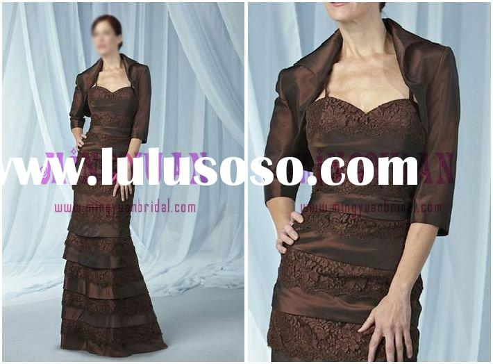 brown elegant satin lace appliqued with jacket satin lace