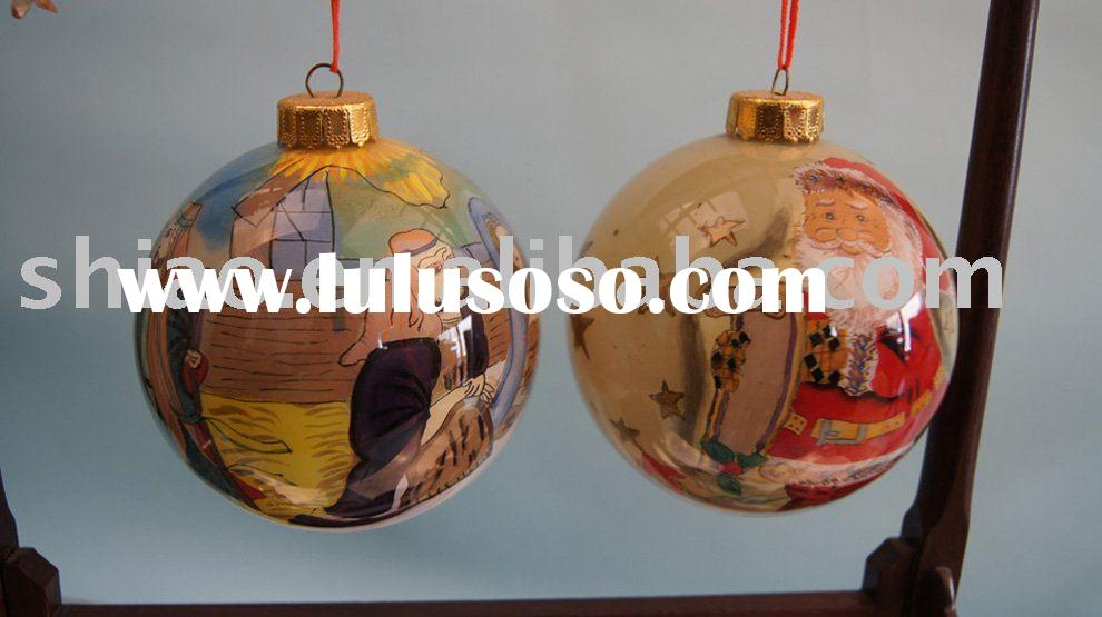 christmas set of 9cm glass christmas ball ornament clear inside painted cartoon pic as xmas decorati
