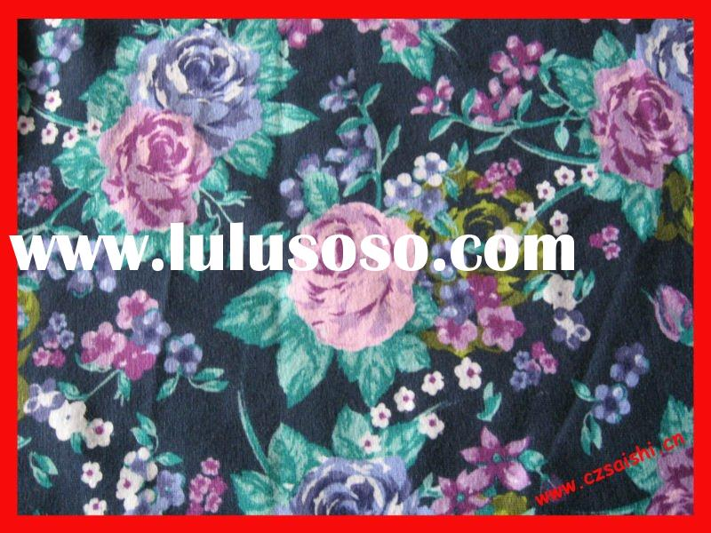 cotton spandex flower print knitting fabric