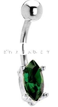 emerald green gem teardrop solitaire belly button ring ,belly ring,316L body piercing jewelry