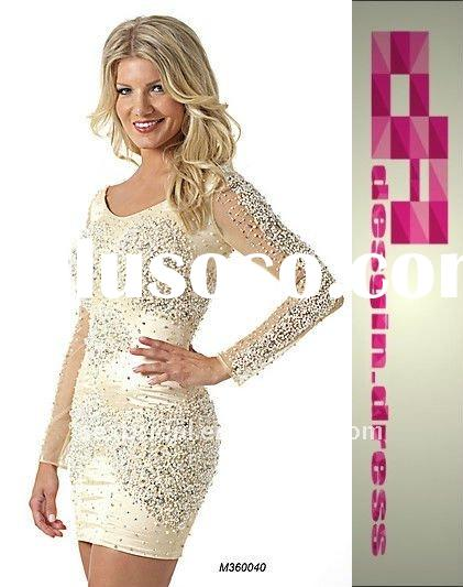 fashion short white scoop long sleeve sequins dress with beading embellishment special occasion home